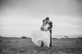 windy weather for wedding couple photos mothecombe devon